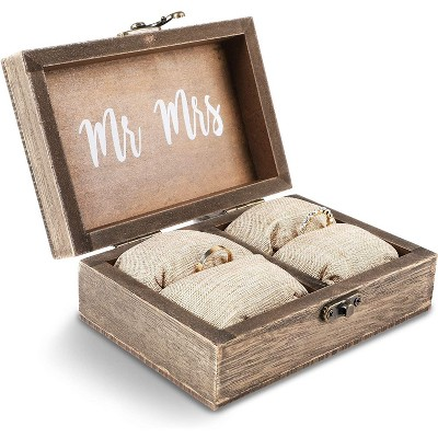 Juvale Mr & Mrs Wood Engagement and Wedding Ring Box with Burlap Pillow Lining