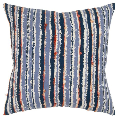 Stripe Decorative Filled Oversize Square Throw Pillow Blue - Rizzy Home - image 1 of 4
