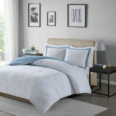 Blue Braydon Reversible Stripe Comforter Mini Set King/California King