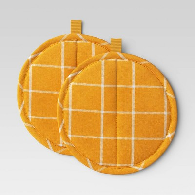 2pk Yarn Dyed Woven Pot Holders Yellow - Room Essentials™