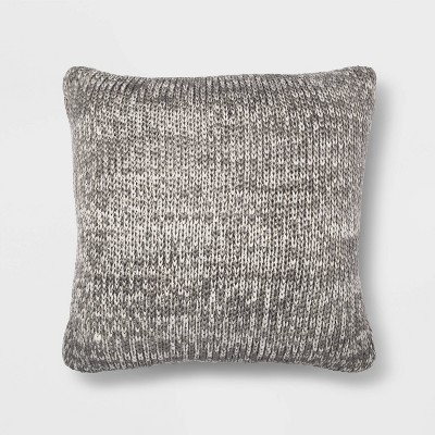 Oversize Marled Knit Square Throw Pillow Gray/Cream - Threshold™