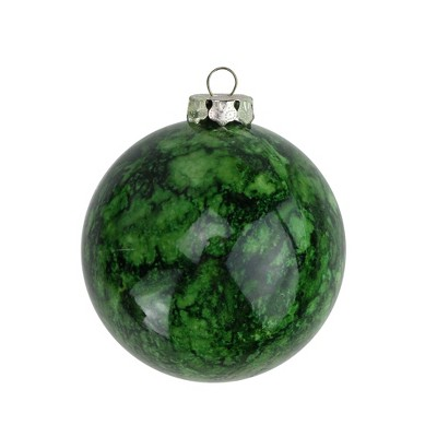 "Barcana 4ct Marbled Shatterproof Christmas Ball Ornament Set 3.25"" - Green"