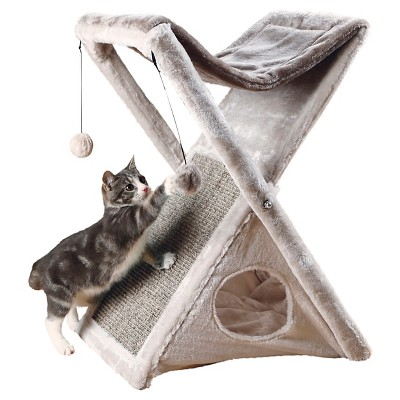 Tixie Pet Miguel Fold And Store Cat Tower - Light Gray