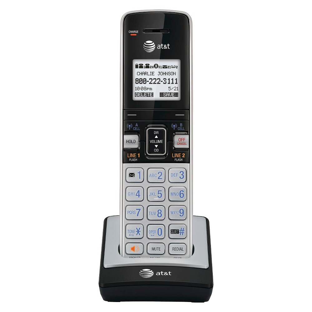 At&t TL86003 Dect 6.0 Connect to Cell Accessory Handset for At&t CL86103, Silver/Black, Light Silver ATandT TL86003 Dect 6.0 Connect to Cell Accessory Handset for ATandT CL86103. Connect to Bluetooth wireless technology-enabled cellular phones to make and receive cellular calls with the ease and comfort of a home phone system. Know when your Android mobile phone receives a text, e-mail or social media update. Each handset beeps and displays which kind of message was received. Connect up to two cellular lines and two landlines with this cordless system. Then, enjoy the freedom to make and receive calls on all four lines- all at once. Color: Light Silver.