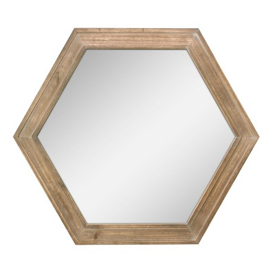 Wooden Hexagon Mirror Brown 24 x 21 - Stonebriar Collection
