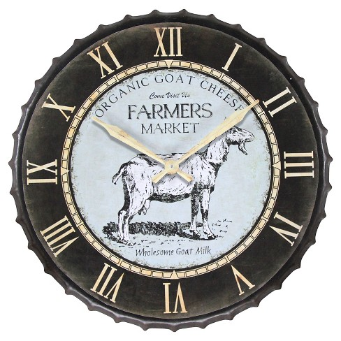 Goat Farmers Market Wall Clock Black/Gold - Infinity Instruments® - image 1 of 5