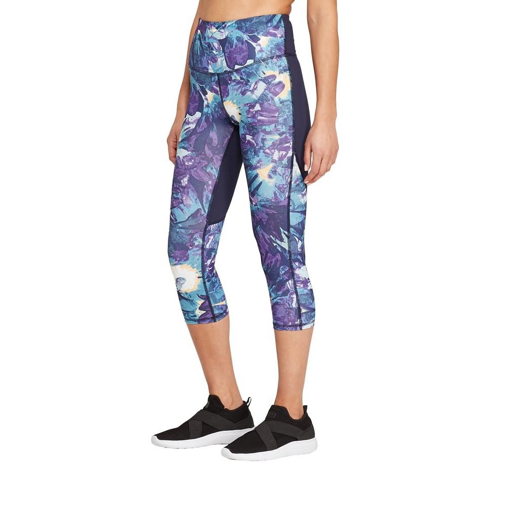 Women's Floral Print Everyday High-Waisted Capri Leggings 20 - C9 Champion Blue XL