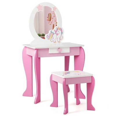 Costway Kids Vanity Makeup Dressing Table Chair Set Wooden with Mirror Drawer