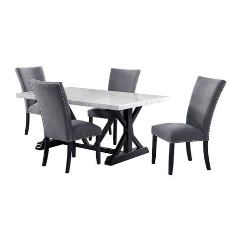 5pc Stratton Standard Height Dining Set Table And 4 Chairs White Charcoal Picket House Furnishings Target