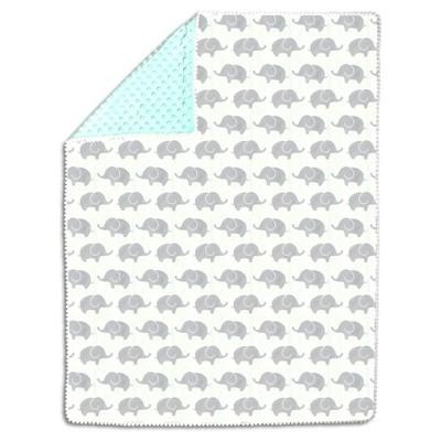 The Peanutshell Pompom Baby Blanket - Mint/Gray Elephants