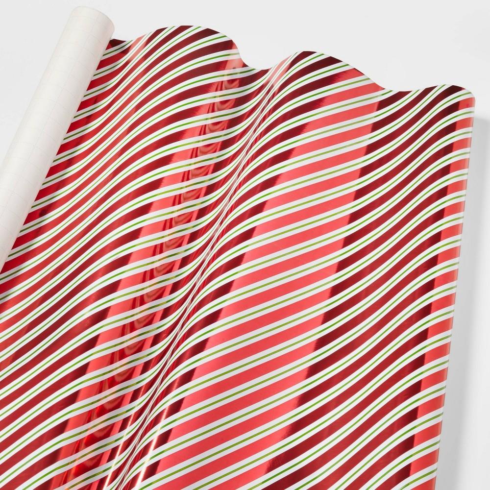 Diagonal Stripe Metallic Gift Wrap Red Green Wondershop 8482