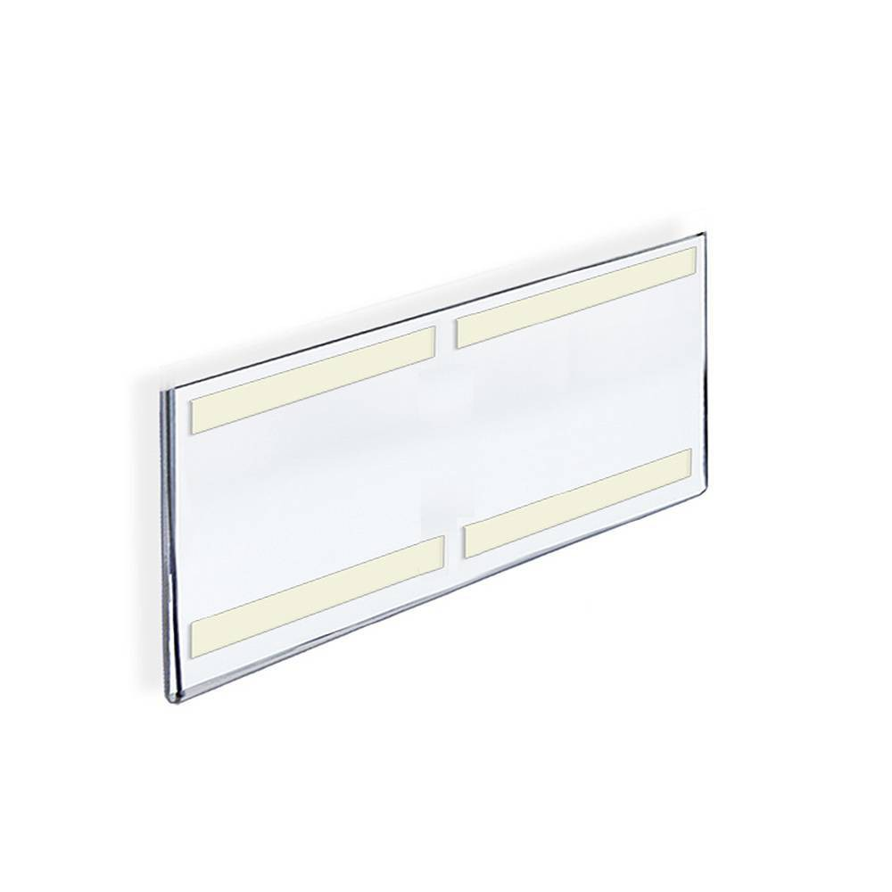 "Image of ""Azar Displays 16"""" X 6"""" 10pk Acrylic Horizontal Wall Mount Sign Holder with Adhesive Tape, Clear"""