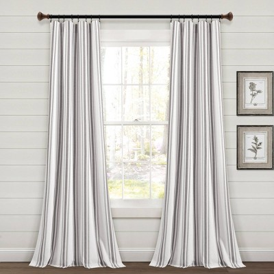 """Set of 2 (84""""x42"""") Farmhouse Striped Yarn Dyed Eco-Friendly Recycled Cotton Window Curtain Panels - Lush Décor"""
