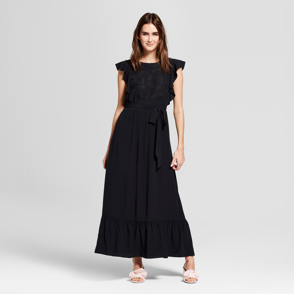 Women's Belted Embroidery Midi Dress- Who What Wear Black L