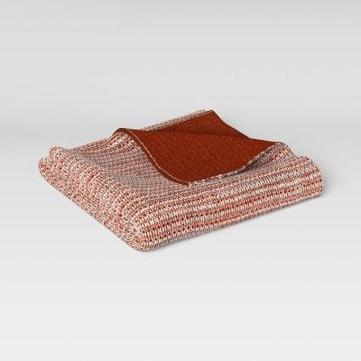 "50""x60"" Reversible Knit Throw Blanket Orange/Cream - Threshold™"