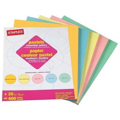 "Staples Pastel Colored Copy Paper 8 1/2"" x 11"" Assorted Colors 400/PK 679481"