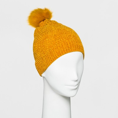 655cbaeacd1 Women s Textured Chenille with Faux Fur Pom Beanie - A New Day™ Yellow