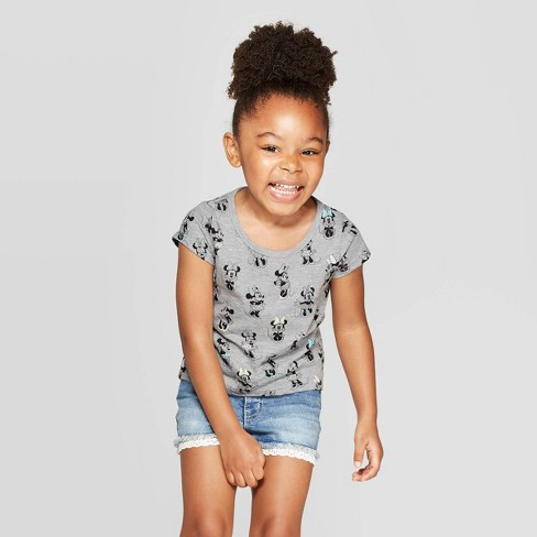 Toddler Girls' Minnie Mouse Print Short Sleeve T-Shirt - Gray - image 1 of 3