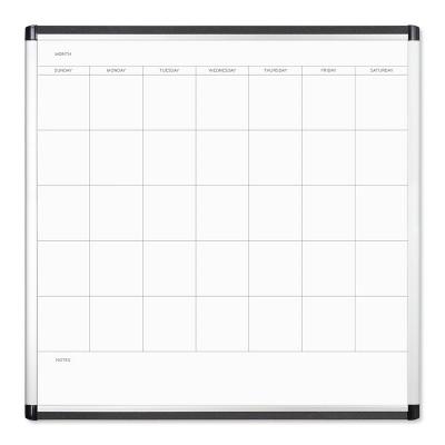 """U Brands 36"""" PINIT Magnetic Dry Erase Calendar Board Silver Aluminum Frame"""