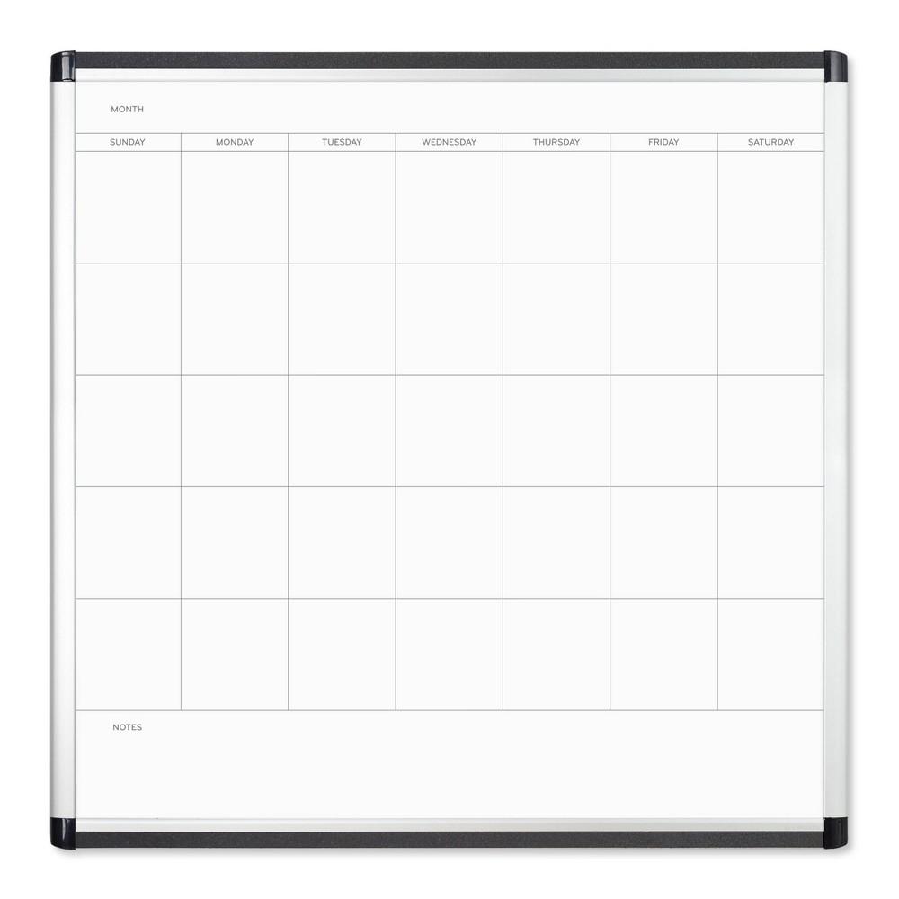 U Brands 36 34 Pinit Magnetic Dry Erase Calendar Board Silver Aluminum Frame