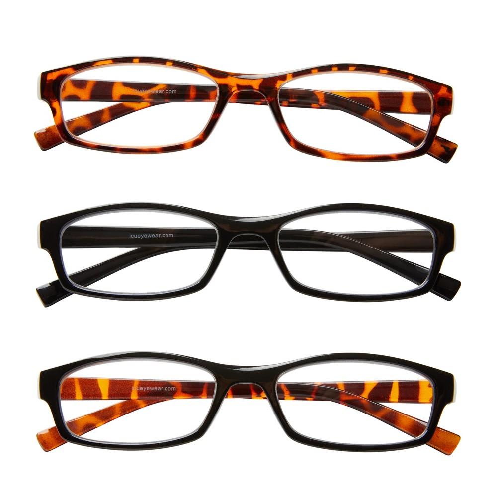 ICU 3-Pack Plastic Reading Glasses - +2.50