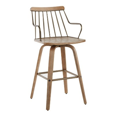 """26"""" Preston Counter Height Barstool White Washed/Antiqued Copper - LumiSource"""