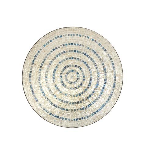 Natural Wood and Shell Round Mosaic Wall Decor Tan/Black - Olivia & May - image 1 of 3