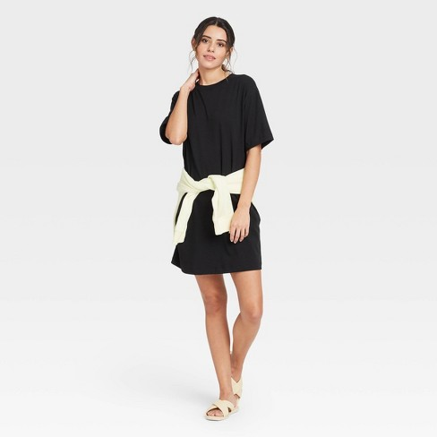 Women's Elbow Sleeve Knit T-Shirt Dress - A New Day™ - image 1 of 3