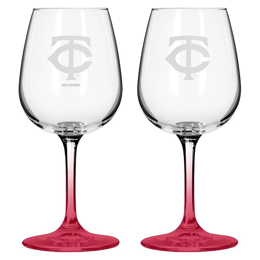 MLB Twins Wine Glass - Set of 2 - 12oz., Multi-Colored