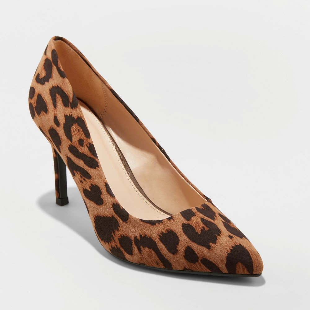 Women's Gemma Wide Width Faux Leather Leopard Pointed Toe Heeled Pumps - A New Day Brown 7W, Size: 7 Wide