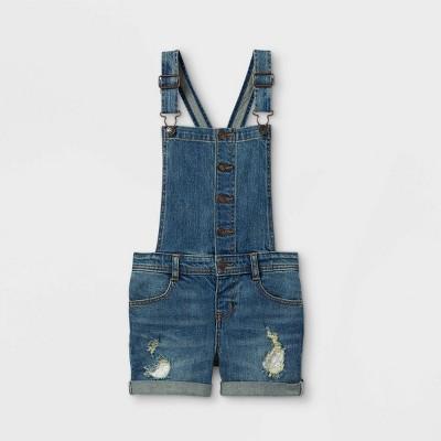 Girls' Lace Repair Jean Shortalls - Cat & Jack™ Medium Wash
