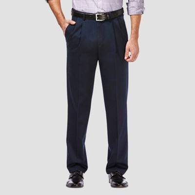 Haggar Men's Premium No Iron Classic Fit Pleated Casual Pants