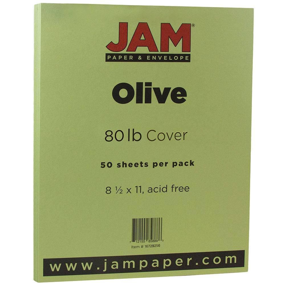 Jam Paper Basis 80lb Cardstock 8 5 34 X 11 34 50pk Olive Green