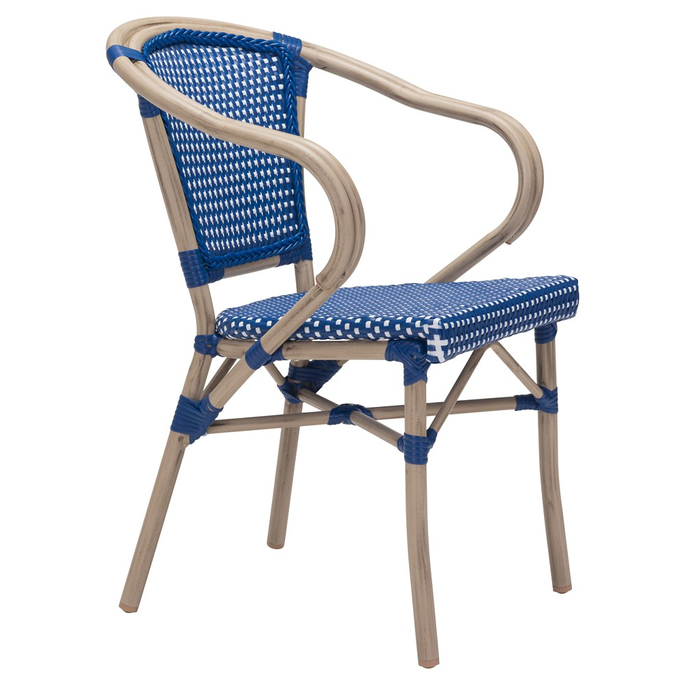 Stackable 2pk Weather Resistant Bistro Arm Chair - Navy/White - ZM Home, Blue