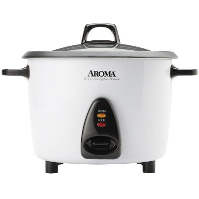 Aroma Electric 20 Cup Rice Cooker with Steam Tray - White