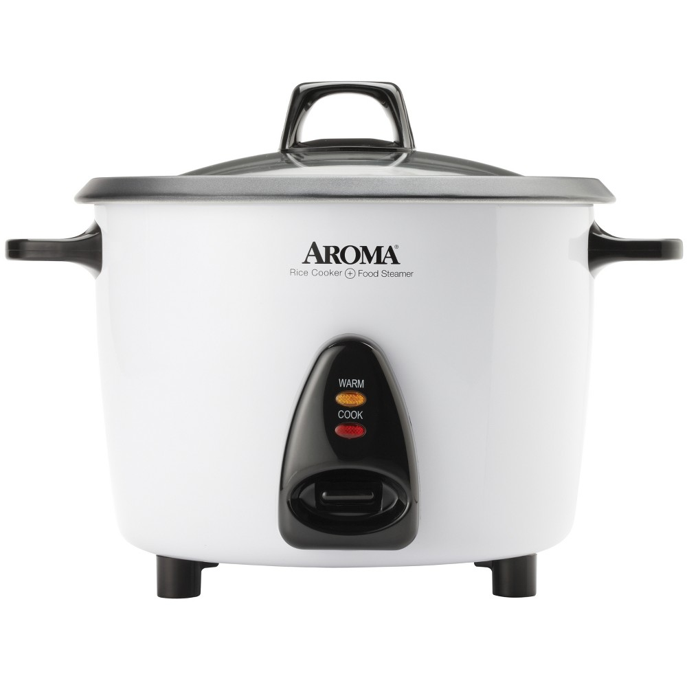 Image of Aroma Electric 20 Cup Rice Cooker with Steam Tray - White