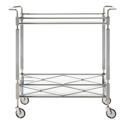 Ingrid 2 Tier Rectangle Bar Cart Chrome - Safavieh
