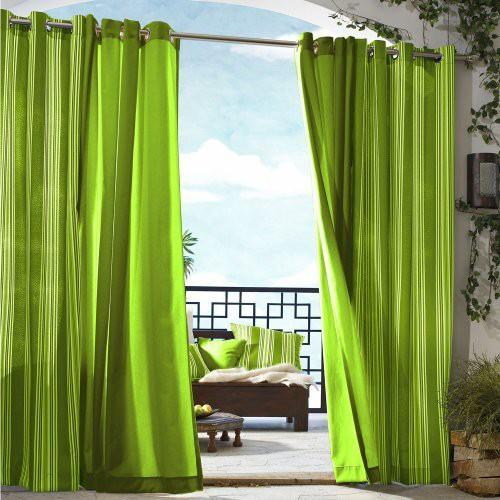 'Outdoor Décor Gazebo Solid Indoor/Outdoor Grommet Top Curtain Panel - Green (50''x96''), Size: 50x96'''