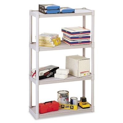 Iceberg Rough N Ready Four-Shelf Open Storage System Resin 32w x 13d x 54h Platinum 20843