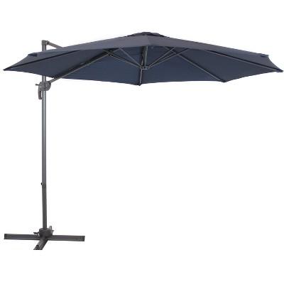 Offset Cantilever Patio Umbrella with 360-Degree Rotation - Navy Blue - Sunnydaze Decor