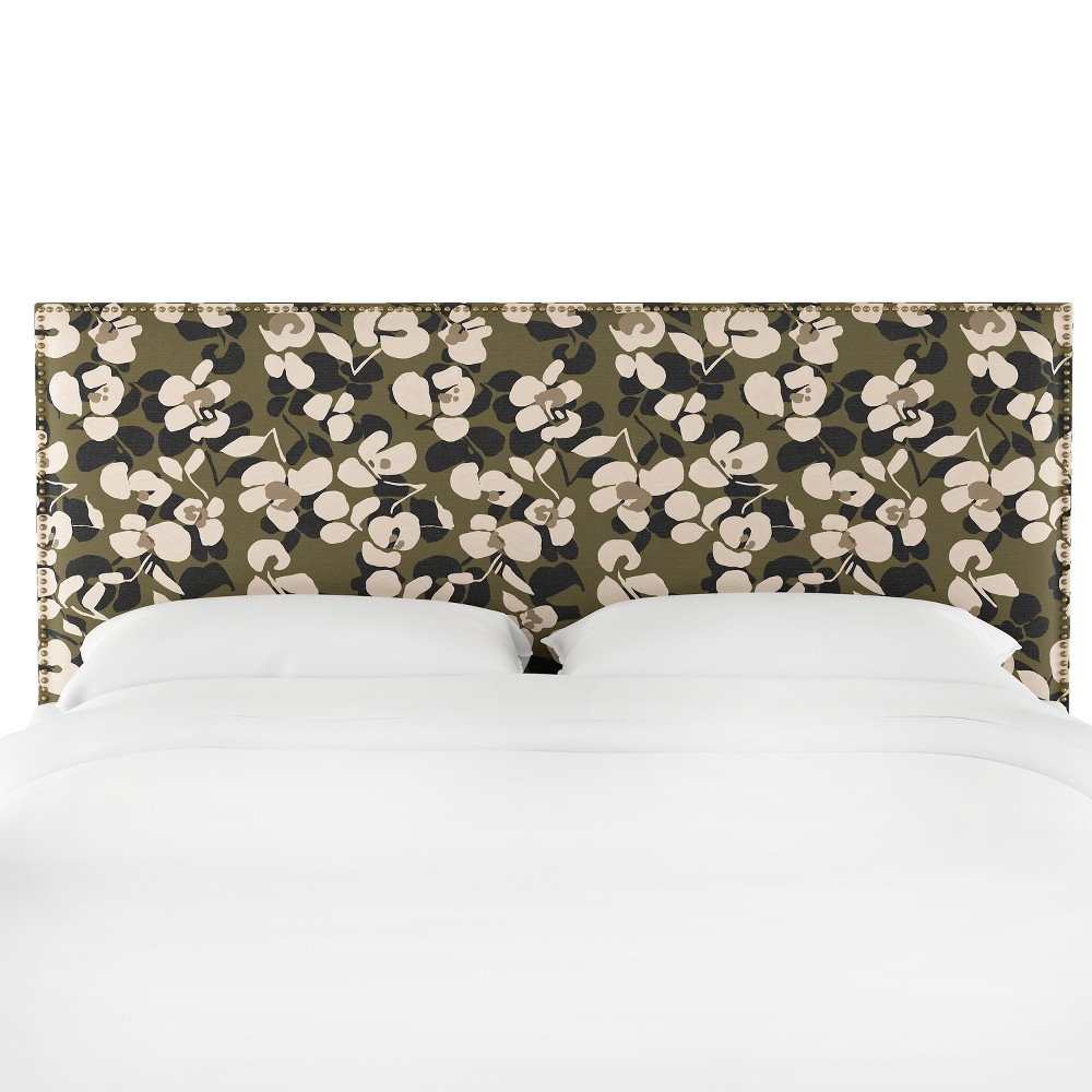 King Bella Nail Button Border Headboard Neutral Floral with Brass Nailbuttons - Cloth & Co.