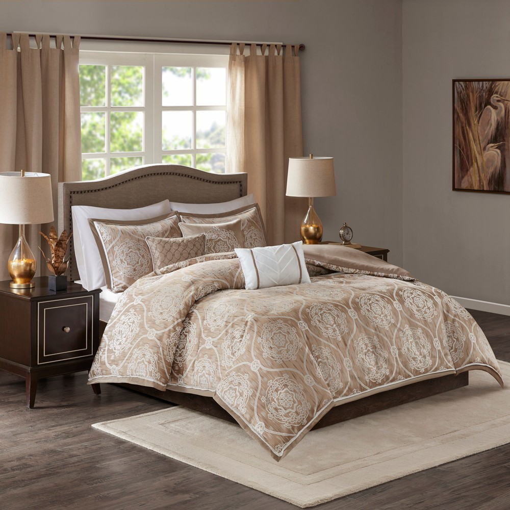 6pc Full/Queen Lanford Jacquard Duvet Cover Set Taupe (Brown)
