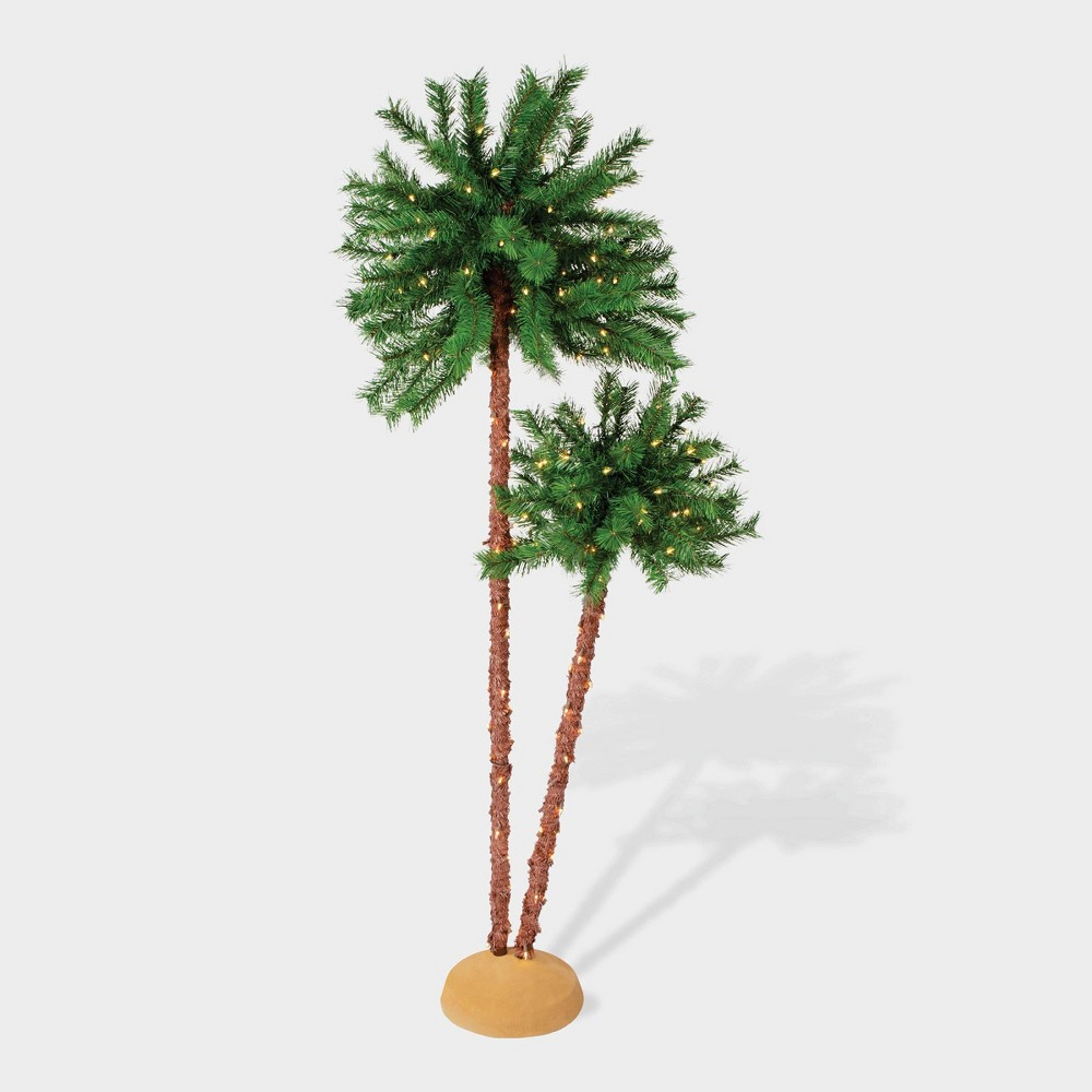 Image of 6' Double Pre-lit Artificial Palm Tree - Puleo