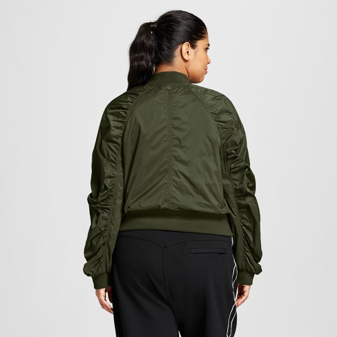 53238692b88 Hunter For Target Women s Plus Size Ruched Sleeve Bomber Jacket - Olive    Target