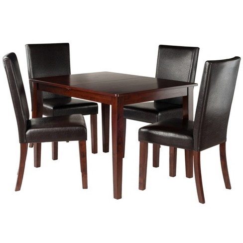 5pc Anna Dining Table Set With Chairs Walnut Winsome