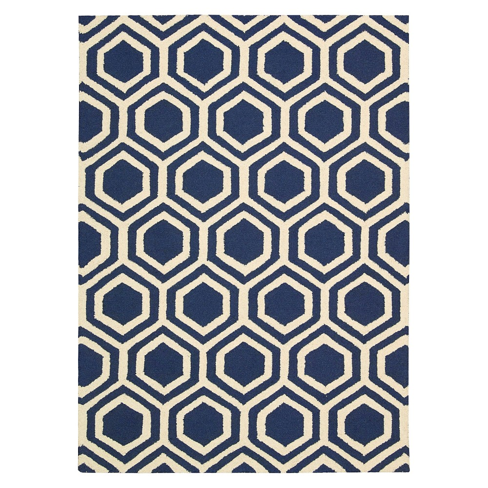 Image of Nourison Hexagon Linear Area Rug - Blue/Ivory (8'X11')