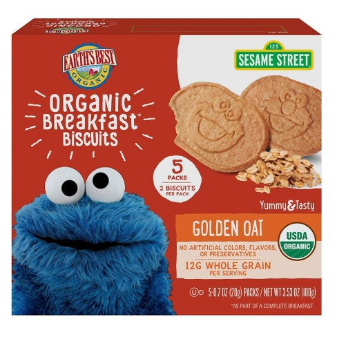 Earth's Best Sesame Street Organic Breakfast Biscuits Golden Oat - 5ct/0.7oz Each - image 1 of 4