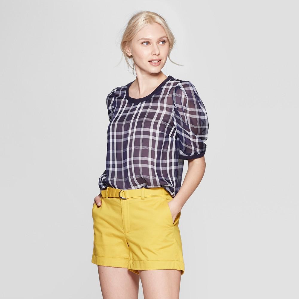 Women's Print Short Sleeve Scoop Neck Woven T-Shirt - A New Day Navy Xxl, Blue