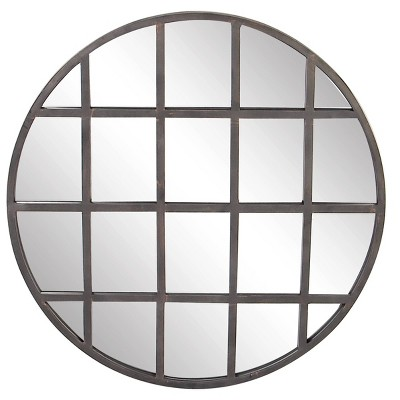 "36"" x 36"" Large industrial Round Wall Mirror with Metal Grid Overlay - CosmoLiving by Cosmopolitan"