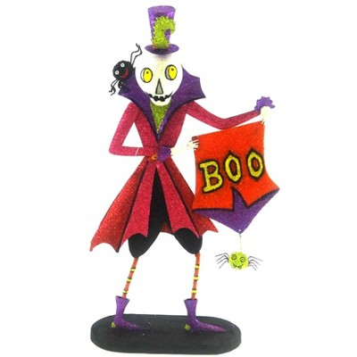 Halloween Booville Skeleton Spiders Boo Sign  -  Decorative Figurines